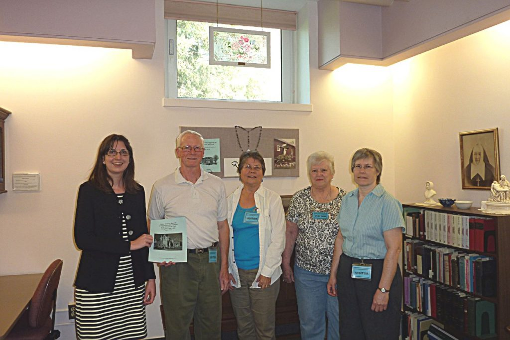 Photo 5 branch members with Archivist of Sisters of Providence